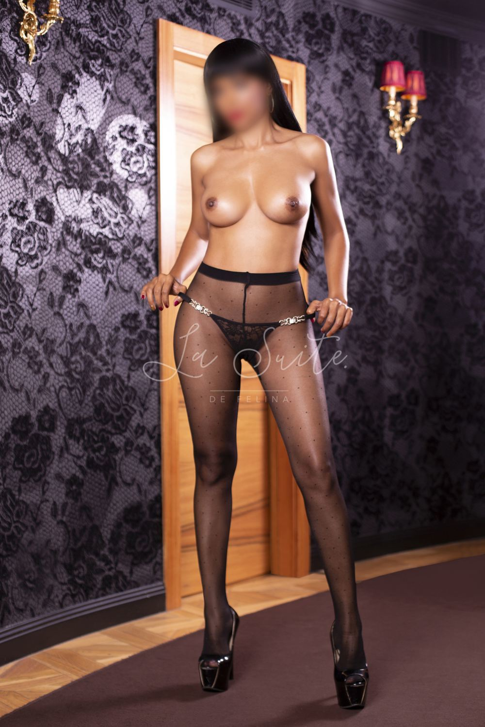 Latin slut with natural breasts in Barcelona, with a black mesh, Jessica