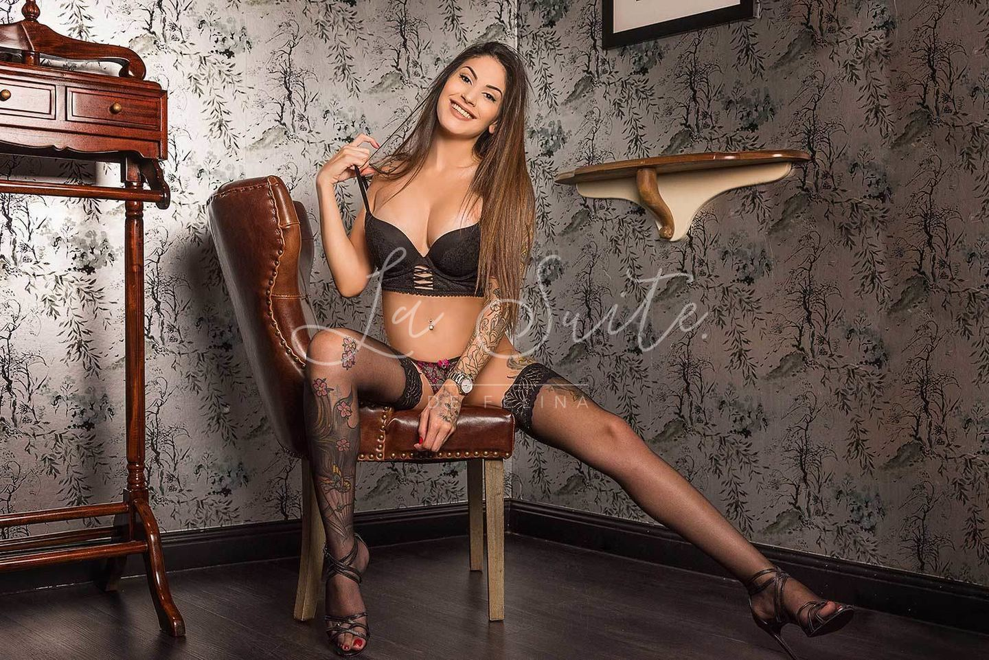 Lara: Sexy Brazilian escort for  girlfriend experience in Barcelona, wearing black lingerie